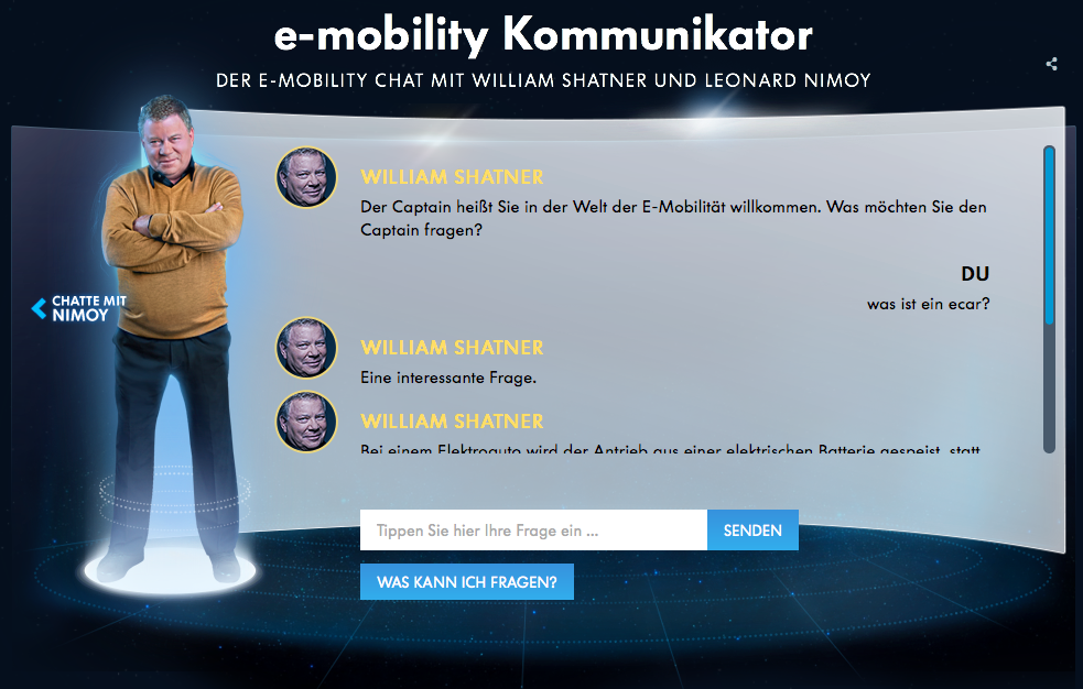William Shatner in Volkswagen e-mobility campaign